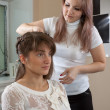 Hair stylist work on woman - Stock Photo