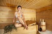 žena v sauně — Stock fotografie