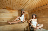 Two women in sauna — Stock Photo
