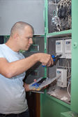 Man working with electric — Stock Photo