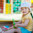 Two-year child in sandbox — Stock Photo