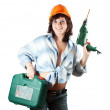 Girl with tool box  and drill - Lizenzfreies Foto