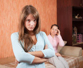 Teenr daughter and mother having quarre — Stock Photo