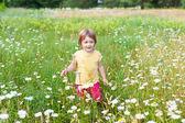 Girl in daisy meadow — Stock Photo