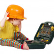 Toddler in hardhat with tool box. Isolated over white - Stock Photo