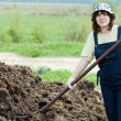 Stock Photo: Female farmer spreads manure
