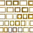 Stock Photo: Set of 30 gold picture frames