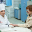 Nurse taking blood sample - 图库照片