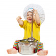 Stock Photo: Baby cook in toque. Isolated over white