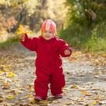 Happy toddler in autumn park — Stock Photo #15261365