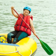 Girl on raft — Stock Photo #15261471
