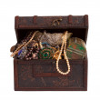 Treasure chest over white background - Stok fotoğraf