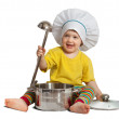 Royalty-Free Stock Photo: Baby cook in toque with  pan. Isolated over white