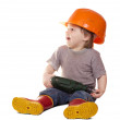 Toddler in hardhat with drill. Isolated over white   — Stock Photo