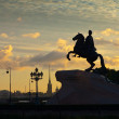 Stock Photo: Equestristatue of Peter Great in dawn