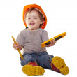 Toddler in hardhat with tools. Isolated over white — Stock Photo