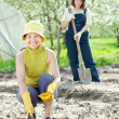 Two women sows seeds - Stock Photo