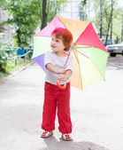 2 years child with umbrella — Stock Photo