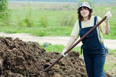 Female farmer spreads manure — Stock Photo