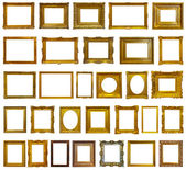 Set of 30 gold picture frames — Stock fotografie