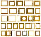 Uppsättning 30 guld tavelramar — Stockfoto