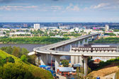 Nizhny Novgorod. Metro Bridge through Oka — Stock Photo