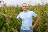 Człowiek stojący na polu — Zdjęcie stockowe