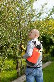 Working man with garden spray — Stock Photo