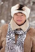 Portrait of mature woman in winter — Stock Photo