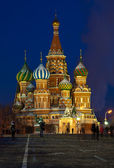 Intercession Cathedral in winter night. Moscow, Russia — Stock Photo