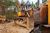 Tractors in the forest — Stock Photo