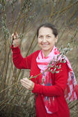 Mature woman in pussywillow plant — Stock Photo