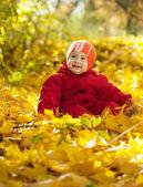 Happy toddler in autumn park — Stock Photo