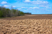 Fresh tillage ploughed field — Stock Photo