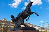 Horse Tamers in Anichkov Bridge — Stock Photo