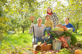 Happy family with harvest in garden — Stock Photo