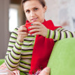 Illness woman with hot cup — Stock Photo #15270451