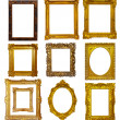 Stock Photo: Set of few gold picture frames