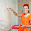 Female house painter paints wall - Stock Photo