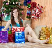 Happy girl celebrating new year — Stock Photo