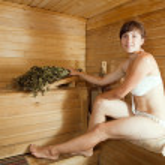 Woman at sauna — Stock Photo #18199531