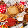 Stock Photo: RussiShrovetide meal