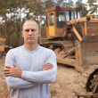 Tractor operator at workplace - Foto Stock