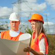 Two workers  at electrical power station. - Foto Stock