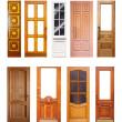 Stock Photo: Set of wooden doors. Isolated on white