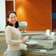 Woman at hotel buffet — Stock Photo