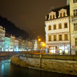 Night view of Carlsbad. Czech Republic - Stock Photo