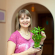 Girl with lucky bamboo plant — Stock Photo #18199597