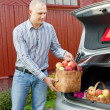 Guy puts apples in the trunk of car — Stock Photo
