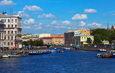 View of St. Petersburg. Fontanka River in sunny day — Stock Photo